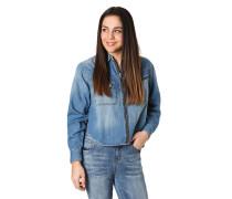 Hemdbluse, Reißverschluss, seitliche Schlitze, Jeans-Optik