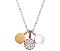 Halskette Bi-color Kreis Zirkonia 925 Sterling Silber