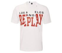 T-Shirt, Baumwolle, Logo-Print, Ziernähte, uni