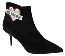 Ankle Boots, spitz, Samt, Herz-Patch, Logo-Print