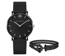 "Set Armbanduhr und Armband ""Black Sunray"" PH-PM-4-M"