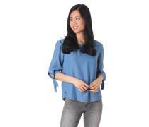Blusenshirt, 3/4-Arm, Denim-Look, Knoten-Details