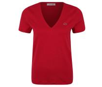 T-Shirt, Baumwolle, V-Ausschnitt, unifarben