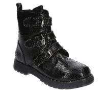 Boots, Reptil-Optik, Schnallen, Blockabsatz