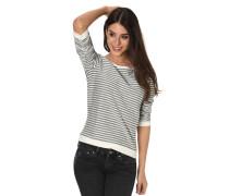 Sweatshirt, 3/4-Arm, Raffung, Streifen