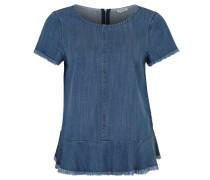 Blusenshirt, Jeans-Optik, Kurzarm, Fransen, Waschung