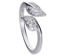 Blattförmiger Ring  mit weißen Zirkonia-Steinen und Pavé-Besatz 6120231082180
