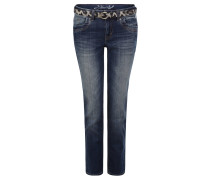 "Jeans ""Alexa"", Straight Fit, Animal-Gürtel, stone washed"