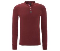 Langarmshirt, Baumwolle, Henley-Ausschnitt, meliert, Logo-Patches