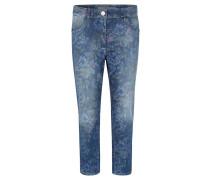 "Jeans ""Tina"", Tapered Leg, floraler Allover-Print, Waschung"