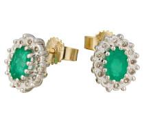 Diamant-Ohrstecker Gelbgold 375 Smaragd, zus. ca. 0