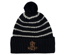 Mütze, Strick, Bommel, Logo-Patch, gestreift