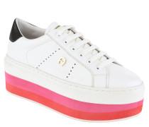 Sneaker, Leder, gestreifte Plateausohle