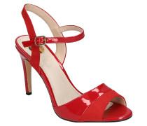 Sandaletten, Lack-Optik, Velours-Details, Riemchen