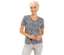 T-Shirt, Baumwolle, floraler Print, Henley-Ausschnitt