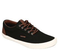 Sneaker, Canvas, Kontrastsohle, Lederimitat-Details