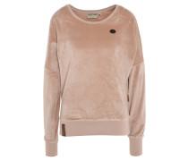 Sweatshirt, Samt-Optik, Emblem