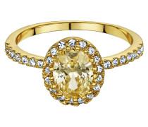 Ring veret mit Zirkonia und Kristallen Messing veret gelb 430070059