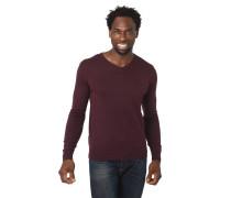 Pullover, Strick, V-Ausschnitt, Label-Stickerei