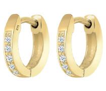 Ohrringe Creolen Basic Diamant (0.10 Ct.) 375 Gelbgold