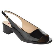 Sandalette, Leder, Lack-Optik, Blockabsatz