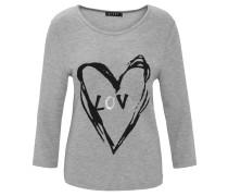 Shirt, 3/4-Arm, Herz-Print, Melange