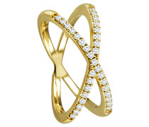 Ring 585 Gelb mit 33 Diamanten, zus. ca. 0,25 ct.