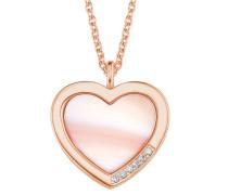 Damen-Halskette mit Perlmutt-Herz rosé