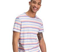 T-Shirt, reine Baumwolle, Streifen, Schrift-Detail