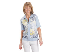 T-Shirt, florales Muster, halbarm, Reißverschluss