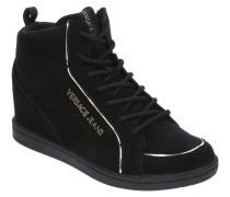 Sneaker, Veloursleder, Schnürung, Goldstreifen-Details, Emblem, Patch
