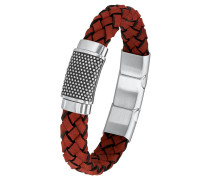 Armband mit Plakette 2015052 geflochten, Leder und Edelstahl
