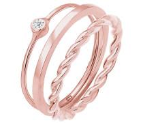 Ring Solitär Twisted Swarovski® Kristalle 925 Silber