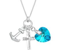 Halskette Anker Herz Kreuz Swarovski® Kristalle Silber