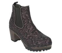 "Chelsea Boots ""Odette"", Leder, Blumenmuster, Blockabsatz"