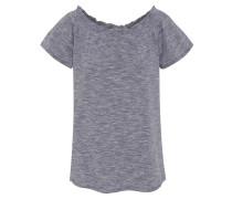 T-Shirt, geraffter Carmen-Ausschnitt, meliert