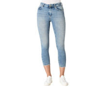 Jeans, 7/8, ausgefranster Saum, Waschung