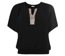 Blusenshirt, überschnittene Schultern, Pailletten, transparent, Große Größen