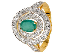 Damenring mit Smaragd Sterling Silber 925 vergoldet