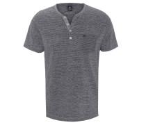 T-Shirt, Split-Neck, Knopf-Details, Streifen, Brusttasche