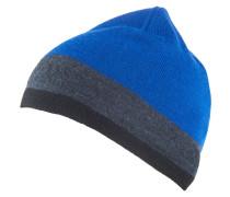 Mütze, Feinstrick, Woll-Mix, dreifarbiges Design