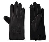 Handschuhe, Leder, Wollanteil, Logo-Stickerei