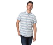 Freizeithemd, Kurzarm, Streifen, Button-Down-Kragen, Ziernähte