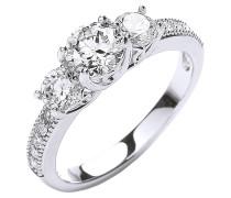 Ring rhodiniert mit Kristallen Messing rhodiniert grau 430070057-1