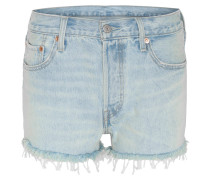 Jeans-Shorts, Straight Fit, Fransen, Waschung