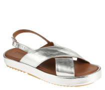 Sandalen, Leder, Metallic-Optik, uni