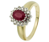 Diamant-Ring Gelbgold 375 Rubin, zus. ca. 0,08 ct