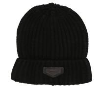 Mütze, Strick, unifarben, Label-Patch