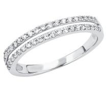 Damen-Ring mit Zirkonia rhodiniert