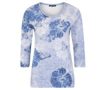 "Shirt ""Edda"", 3/4-Arm, Shaped Fit, floraler Allover-Print, Glitzer-Naht vorn"